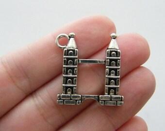 2 London bridge charms antique silver tone WT44