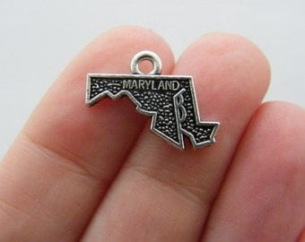 4 Maryland charms antique silver tone WT171