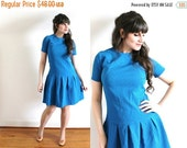 ON SALE 60s Dress / 1960s Azure Blue Mini Scooter Dress