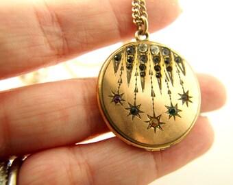 Star Locket - Paste Stones - Gold Filled - W&H Co - Vintage