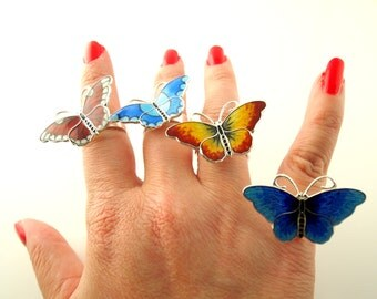 Enamel Butterfly Ring - Sterling Silver