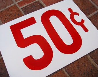 50 Cent Price Tag Sign - Primitive Price Sign - Large
