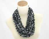 Valentines Day, Knit Cowl, Necklace Scarf,Circle Scarf, Black Gray Scarf, Gift For Her Women Scarf, Fiber Art, Fashion Scarf, Spring Scarf