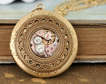 gold steampunk locket necklace TIME TRAVELER steampunk vintage Elgin jeweled watch movement locket necklace with steel chain