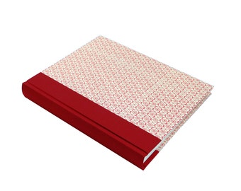 red white wedding album, large portrait format 9x12 with ivory white pages