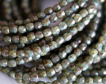 3mm Mossy Green Luster Picasso - Round Faceted Beads - Czech Glass Beads - 3mm Fire Polished - Bead Soup Beads