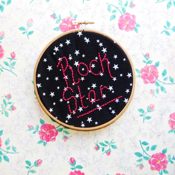 On sale rock star embroidered hoop art hand by natashadevil for Rock star photos for sale