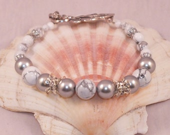 Silver, Swarovski Crystal And White Howlite Bracelet With Rhinestone Spacers