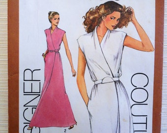 1980s dress pattern, sleeveless, formal mock wrap dress, Designer Couturier Simplicity 9518 misses size 16 bust 38, vintage sewing pattern