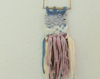 Mini Tapastry Necklace Handwoven Necklace Woven Necklace Bohemian Jewelry Tassel Necklace Fringe Necklace Spring Jewelry
