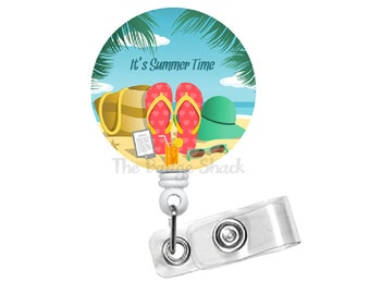 Summer Time - Retractable ID Badge Reel - Teacher Badge Holder - Cute Badge Reel - Nurse Badge Holder - Nursing Badge Clip - Gift for Her