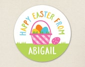 Easter Stickers - Pink Easter Basket - Sheet of 12 or 24
