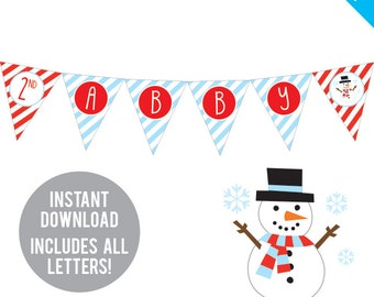 INSTANT DOWNLOAD Snowman Party - DIY printable pennant banner - Includes all letters, plus ages 1-18