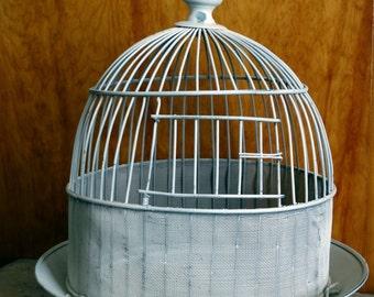Shabby Creamy White Metal and Mesh Bird Cage . Birdcage . Home Decor . Wedding . Vintage Vignette