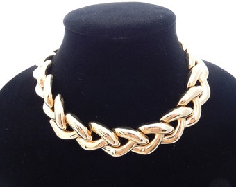 Heavy Gold Plated Statement Necklace Erwin Pearl