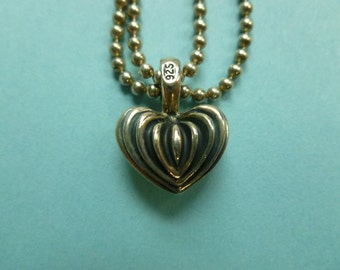 Lagos Signature Caviar Collection Fluted Heart Pendant with Necklace