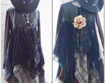 faux leather kimono duster dress romantic shabby cottage chic plaid leather N lace fall jacket, Fall trends, boho style, True rebel clothing
