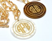 """Monogram Acrylic Necklace - 32"""" Gold Rope Chain - Acrylic Etched Monogram Jewelry - Bridesmaid Gifts - Vine or Circle Font"""