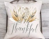 Pillow Cover Harvest Feather Thankful Thanksgiving Decor