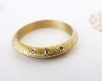 Eclipse In Gold With Diamonds. 14K Gold Ring Set with 3 Diamonds. Triangle Profile Gold Ring. Unique Handmade Engagement Ri