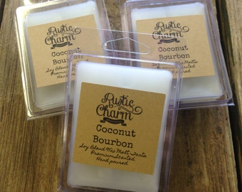 Coconut Bourbon Hand made Soy Blend Candle Wax Melts Breakaway Clamshell Tarts Rustic Charm