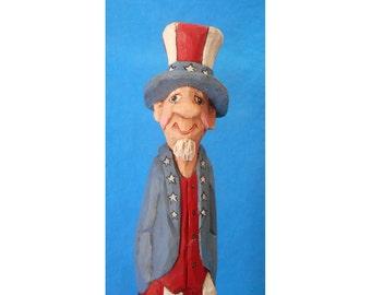 Hand Carved Patriotic Uncle Sam Decoration #16142