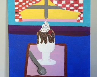 Original Acrylic Still Life Sundae Painting on Canvas