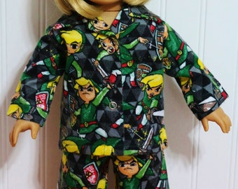 """Disney's ZELDA Sword and Shield Flannel Pajamas fit 18"""" Dolls - Proudly Made in America"""