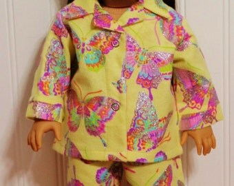 BUTTERFLYFlannel Pajamas fit 18inch Dolls - Proudly Made in America