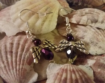 Purple Angel Earrings