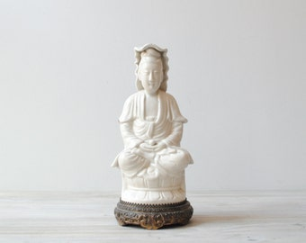 Vintage Buddha Statue, Ceramic Buddha Figurine
