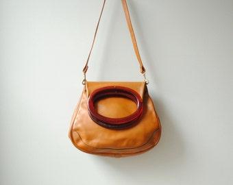 Vintage Leather Purse Bag / Camel Leather Fold Over Bag