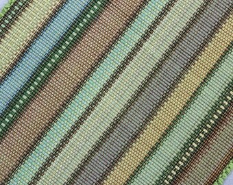 Cotton Rag Rug Machine Washable  2' x 3' Striped Rug in Shades of Autumn Tan, Green, Gold, Sage