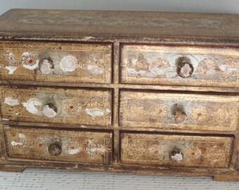 Vintage Jewelry Box Florentine Tole Six Drawers