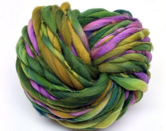 Thick and thin super bulky yarn in hand dyed merino wool - 51 yards and 3.4 ounces/97 grams