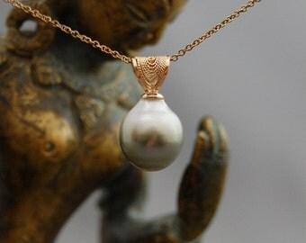 Taj - OOAK, rare, Bi-color Tahitian pearl pendant, pearl jewelry, gift idea for her, anniversary, women, pearl necklace, jewelry, pendant