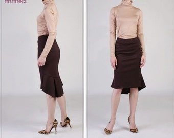 NEW  Back Pleated Fishtail Skirt, Brown Pencil Skirt, Ruffle Skirt, Winter Skirt, Fit and Flare Skirt, Peplum Hem Skirt - Coffee Brown Ponte