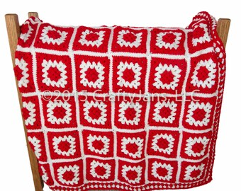 Afghan - Red and White