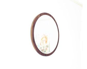 """24"""" Modern Minimal Round Mirror. Walnut Mid-century Modern Design. Danish Mirror. No Belt. Floating mirror. Gift."""