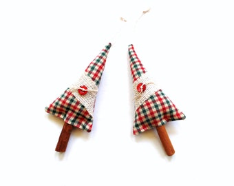 Cinnamon tree ornaments, Balsam Christmas tree, Balsam fir pine tree, cinnamon scented, plaid homespun cotton, scented ornament