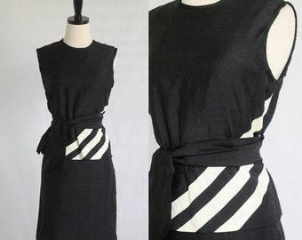 Vintage 1960s Dress 60s Dress Black Cocktail Dress Linen Dress Womens Black Dress Top and Skirt Size Medium