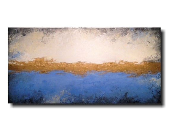 Large Abstract painting - 24 X 48 - FREE US Shipping JMJartstudio-Simply -Wall art - Blue painting