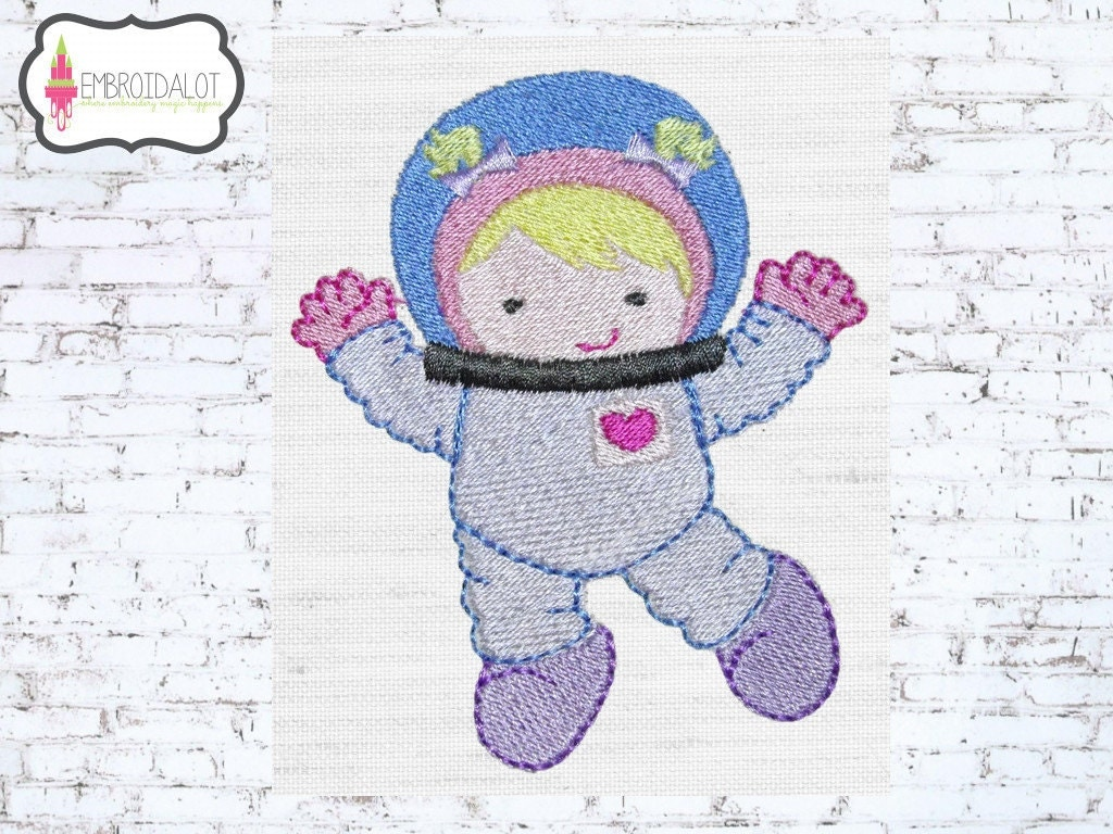 Girl astronaut machine embroidery design cute space for Space embroidery designs
