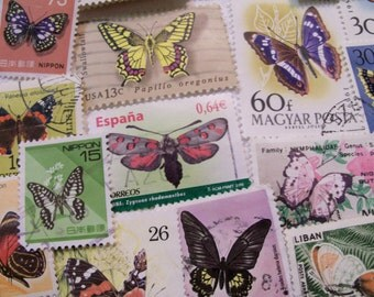 25  Butterfly Postage Stamps, Wedding Stamps, Used Stamps, Craft Stamps, Vintage Stamps,