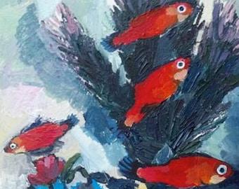 Original Acrylic Painting Of Four Orange Fish On Hardboard by Rochester, NY Artist Rina Miriam Drescher