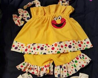 Custom made OOAK Elmo pillowcase ruffle short set