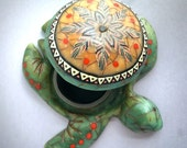 Sea Turtle Decor, Keepsake Box, Jade Box, Polymer Clay, Turtle Art, Handmade Box, Home Decor, Turtle Wall Decor, Native American