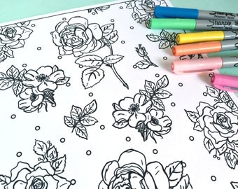 Printable VICTORIAN FLOWERS Coloring Page Digital File Instant Download Roses Floral