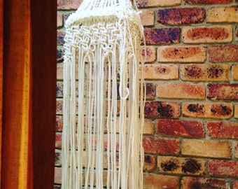 Vintage Wedding Accessory Home Decor Macrame Knotted in the Round Hanging Mobile