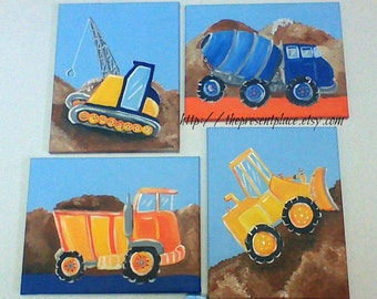 build it theme wall art,boys room wall art,paintings for boys,construction theme paintings,bookends,wall art,dump truck, back hoe,digger